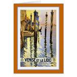 """""""Venise et le Lido"""" Vintage Travel Poster Greeting Card"""