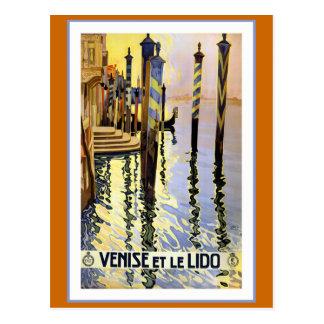 """""""Venise et le Lido"""" Vintage Travel Poster Postcard"""