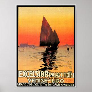 Venise / Venice Italy Sailboat Sunset Vintage Poster