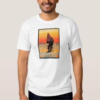 Venise/vintage de la puesta del sol del velero de remeras