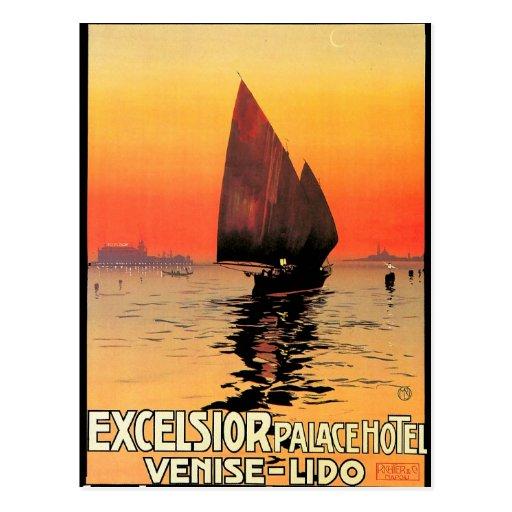 Venise/vintage de la puesta del sol del velero de tarjeta postal