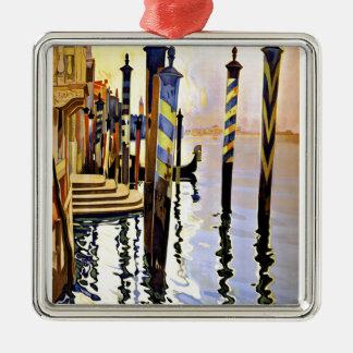 Venise y le Lido Venecia Italia Adorno Cuadrado Plateado