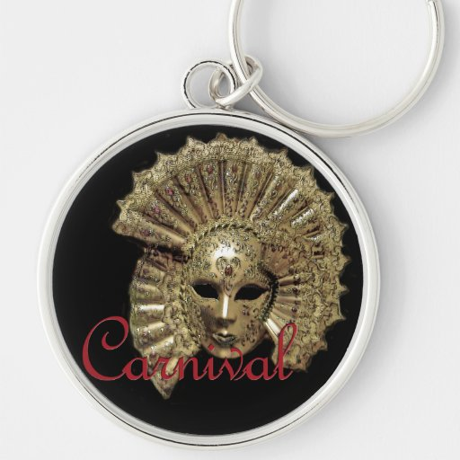 Venitian Carnival Mask Silver-Colored Round Keychain