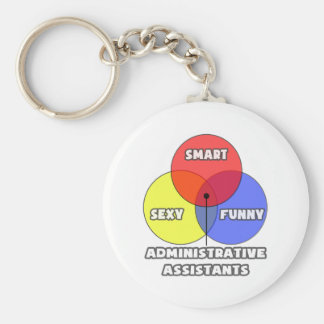 Venn Diagram .. Administrative Assistants Basic Round Button Keychain