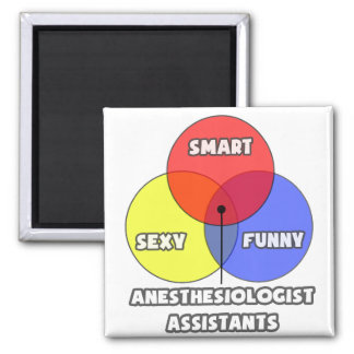 Venn Diagram .. Anesthesiologist Assistants 2 Inch Square Magnet
