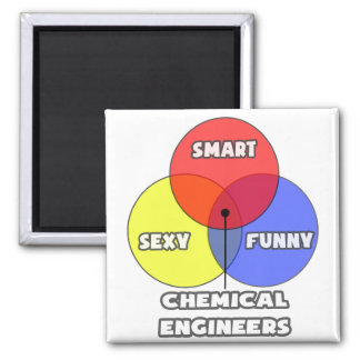 Venn Diagram .. Chemical Engineers 2 Inch Square Magnet