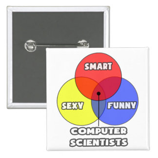 Venn Diagram .. Computer Scientists Pinback Button