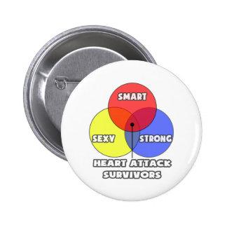 Venn Diagram .. Heart Attack Survivors Pinback Button