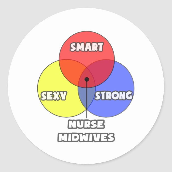 Venn Diagram .. Nurse Midwives Classic Round Sticker