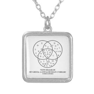 Venn Diagram Of Greek, Latin & Russian Cyrillic Personalized Necklace