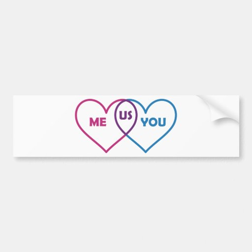 Venn Diagram Valentine - Me You Us Car Bumper Sticker