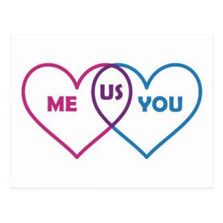 Venn Diagram Valentine - Me You Us Postcard