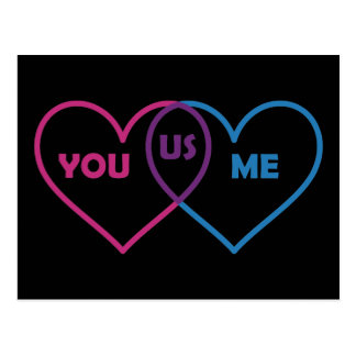 Venn Diagram Valentine - You Me Us Postcard