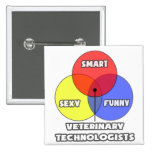 Venn Diagram .. Veterinary Technologists Pinback Button