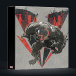 """Venom Ink And Grunge Binder<br><div class=""""desc"""">Check out this grungy inked graphic of Venom coming out of a V-shaped cutout of a darkened city! Customize your own Spider-Man merch by clicking the customize button to resize the artwork or add your own text!</div>"""