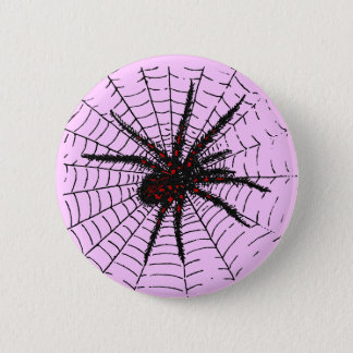 Venomous Black Spider Scary Insect Art Button