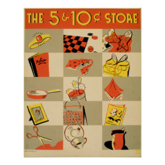 Venta al por menor colorida cinco del vintage y póster