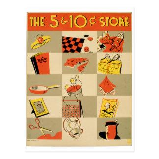Venta al por menor colorida cinco del vintage y postal