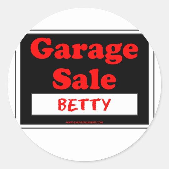Venta de garaje Betty Pegatina Redonda