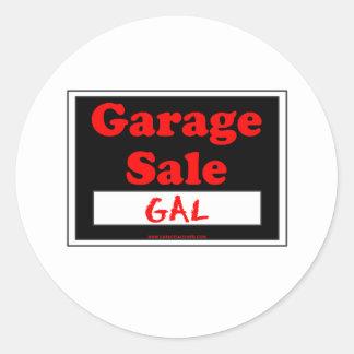 Venta de garaje galón pegatina redonda