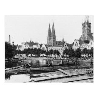 Venta de la madera en el río Trave, Lubeck, c.1910 Postal