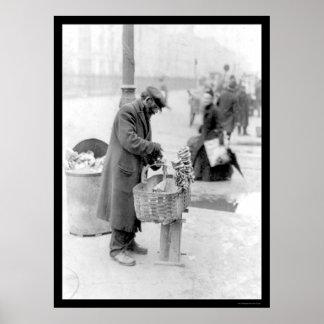 Venta de los pretzeles en NYC 1917 Poster