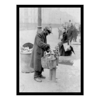 Venta de los pretzeles en NYC 1917 Póster