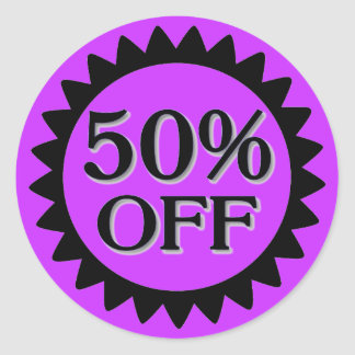 Venta el 50 por ciento de los pegatinas negros pegatina redonda