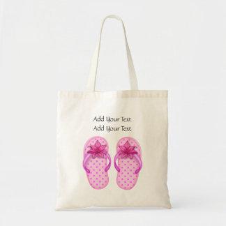 Venta - pequeño tote rosado de los flips-flopes bolsas lienzo
