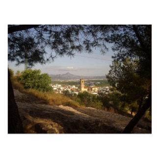 Ventana a través de los árboles tarjeta postal