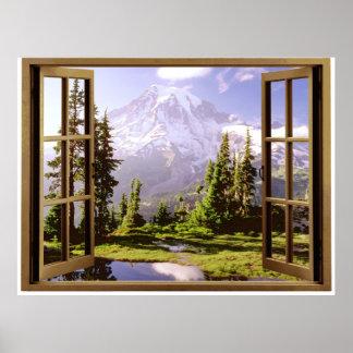 Ventana abierta en el Monte Rainier Póster