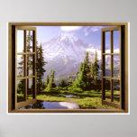Ventana abierta en el Monte Rainier Posters