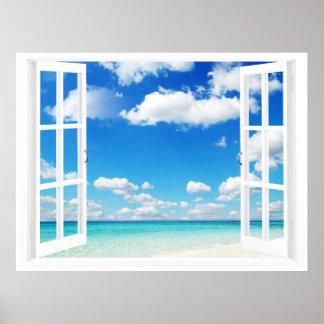 Ventana abierta en la playa póster
