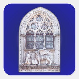 Ventana coa alas Marco del león de San Calcomania Cuadradas Personalizadas