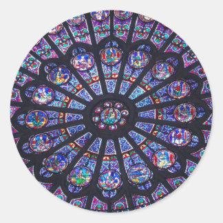 Ventana color de rosa de Notre Dame Pegatina Redonda