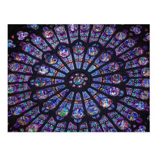 Ventana color de rosa de Notre Dame Tarjetas Postales