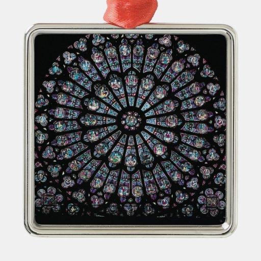 Ventana color de rosa del transept del norte adorno navideño cuadrado de metal