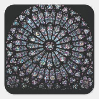 Ventana color de rosa del transept del norte pegatina cuadrada
