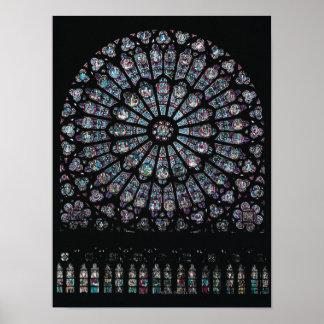 Ventana color de rosa del transept del norte póster