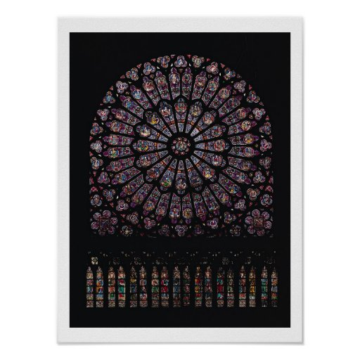 Ventana color de rosa del transept del norte repre póster