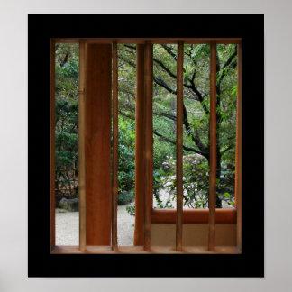 Ventana de bambú póster