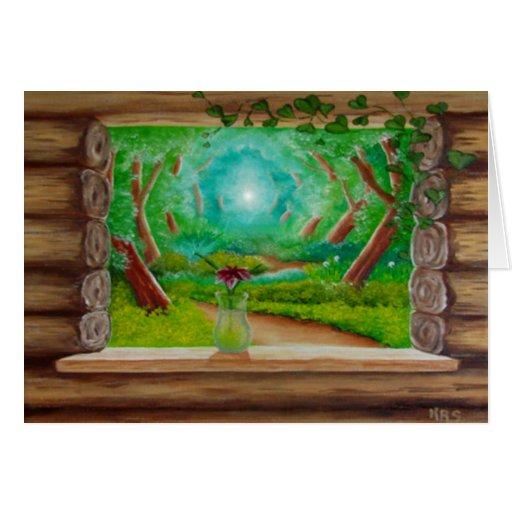 Ventana de cabaña de madera tarjetón