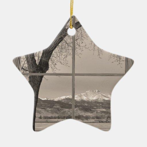 ventana de imagen de madera winter de los ongs del adorno