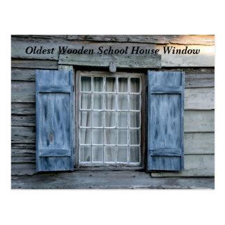 ventana de la casa de la escuela más vieja tarjeta postal