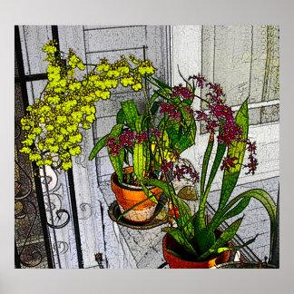 Ventana de la orquídea póster