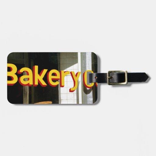 Ventana de la panadería etiquetas de equipaje