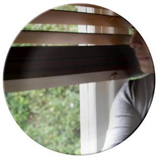 ventana de la pizca de la placa plato de cerámica