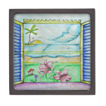 ventana de la visión de la isla cajas de recuerdo de calidad