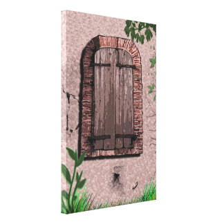 Ventana de madera vieja con los ladrillos dilapida impresión en lona estirada