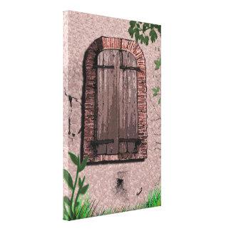 Ventana de madera vieja con los ladrillos dilapida impresiones de lienzo
